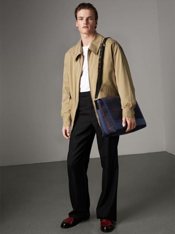 Large Tartan Cotton Messenger Bag in Deep Navy | Burberry Canada - cell image 2