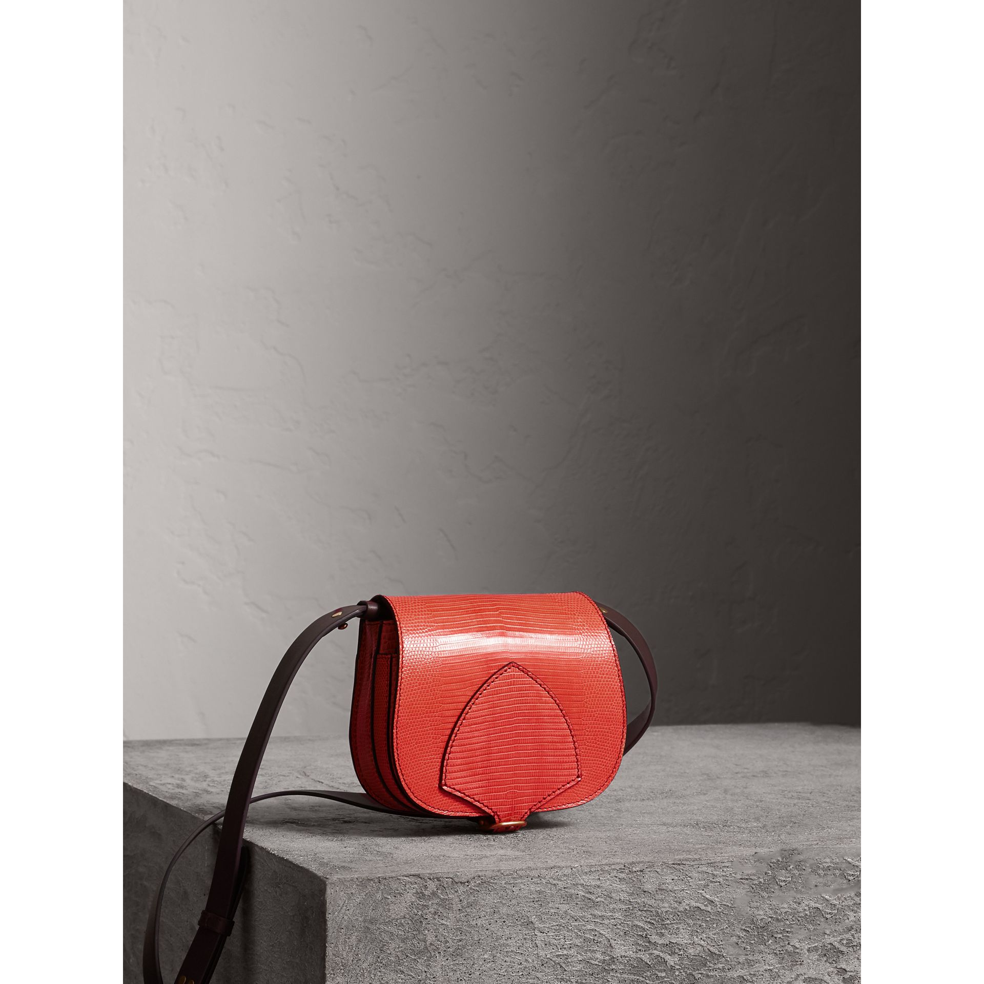 The Satchel in Lizard in Coral Red - Women | Burberry United Kingdom - gallery image 7