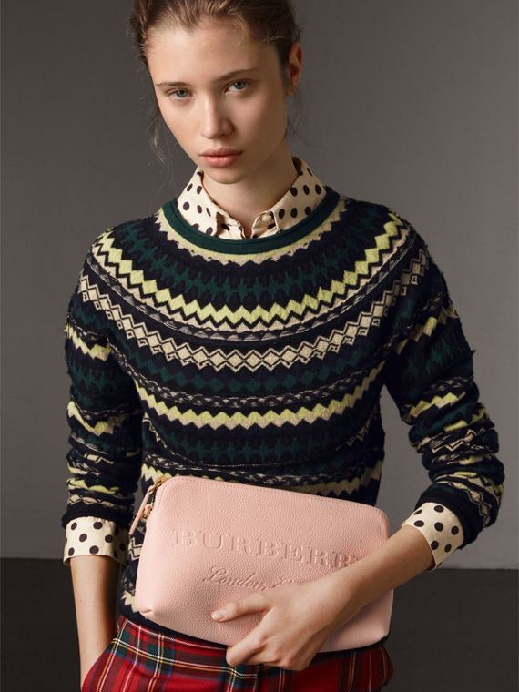Embossed Leather Clutch Bag in Pale Ash Rose - Women | Burberry - cell image 3