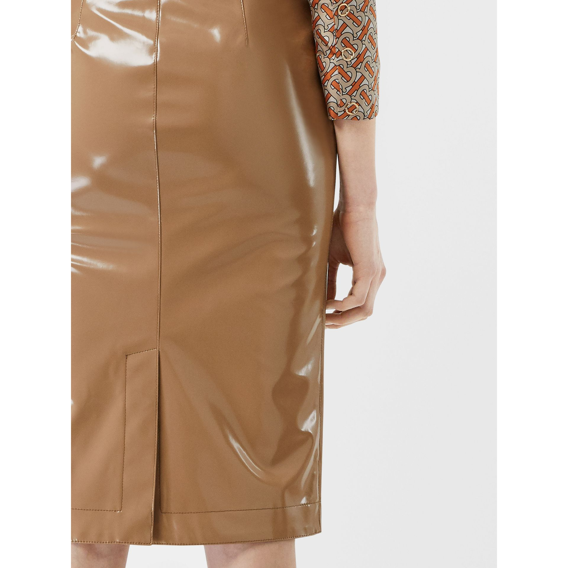 Vinyl Pencil Skirt in Utility Beige - Women | Burberry - gallery image 4
