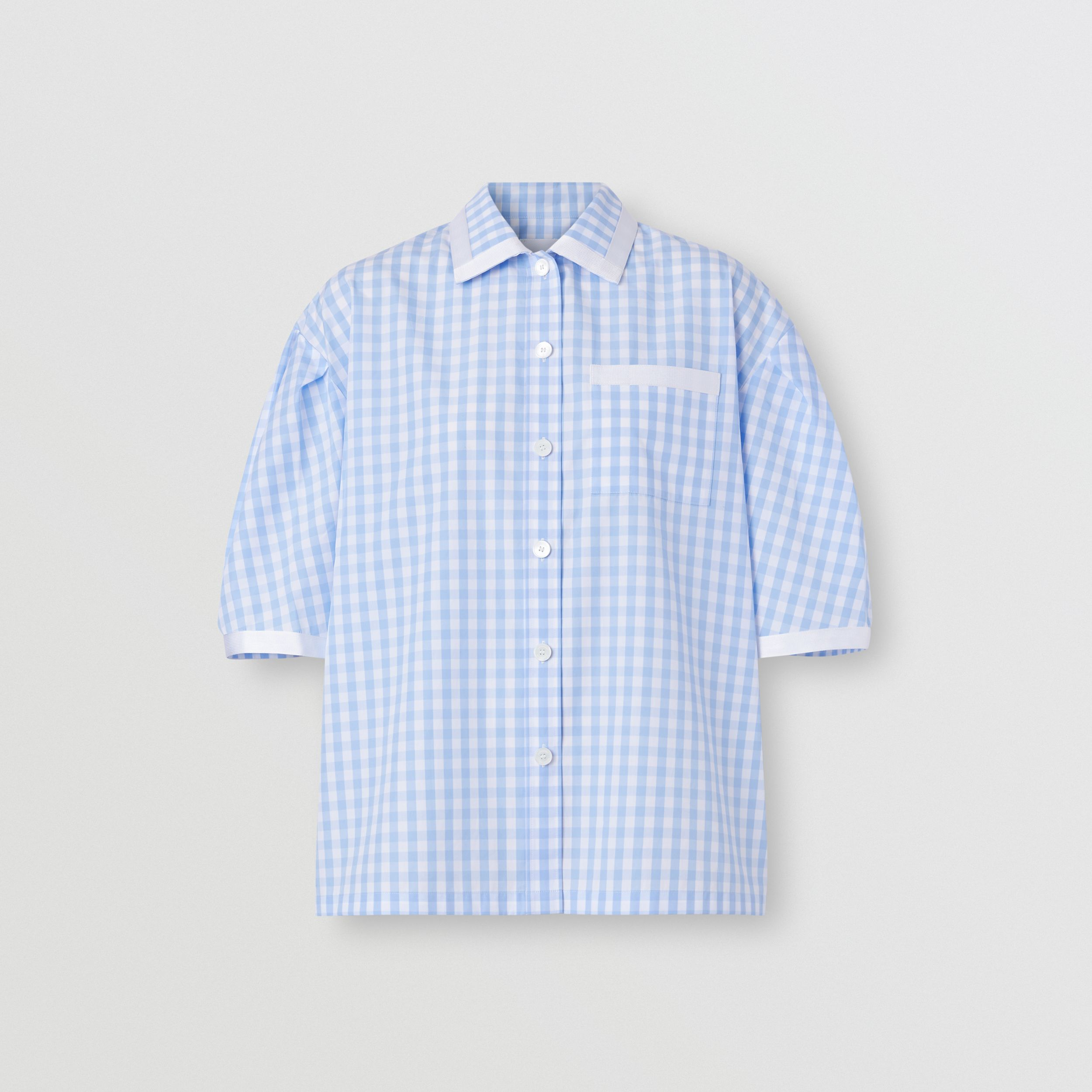 Puff-sleeve Gingham Cotton Oversized Shirt in Pale Blue - Women | Burberry - 4