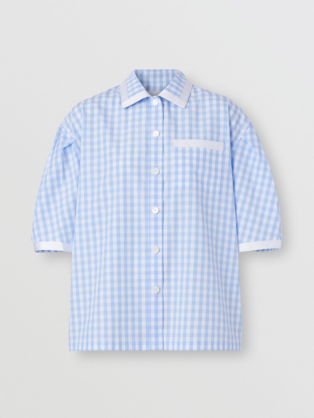 Puff-sleeve Gingham Cotton Oversized Shirt in Pale Blue