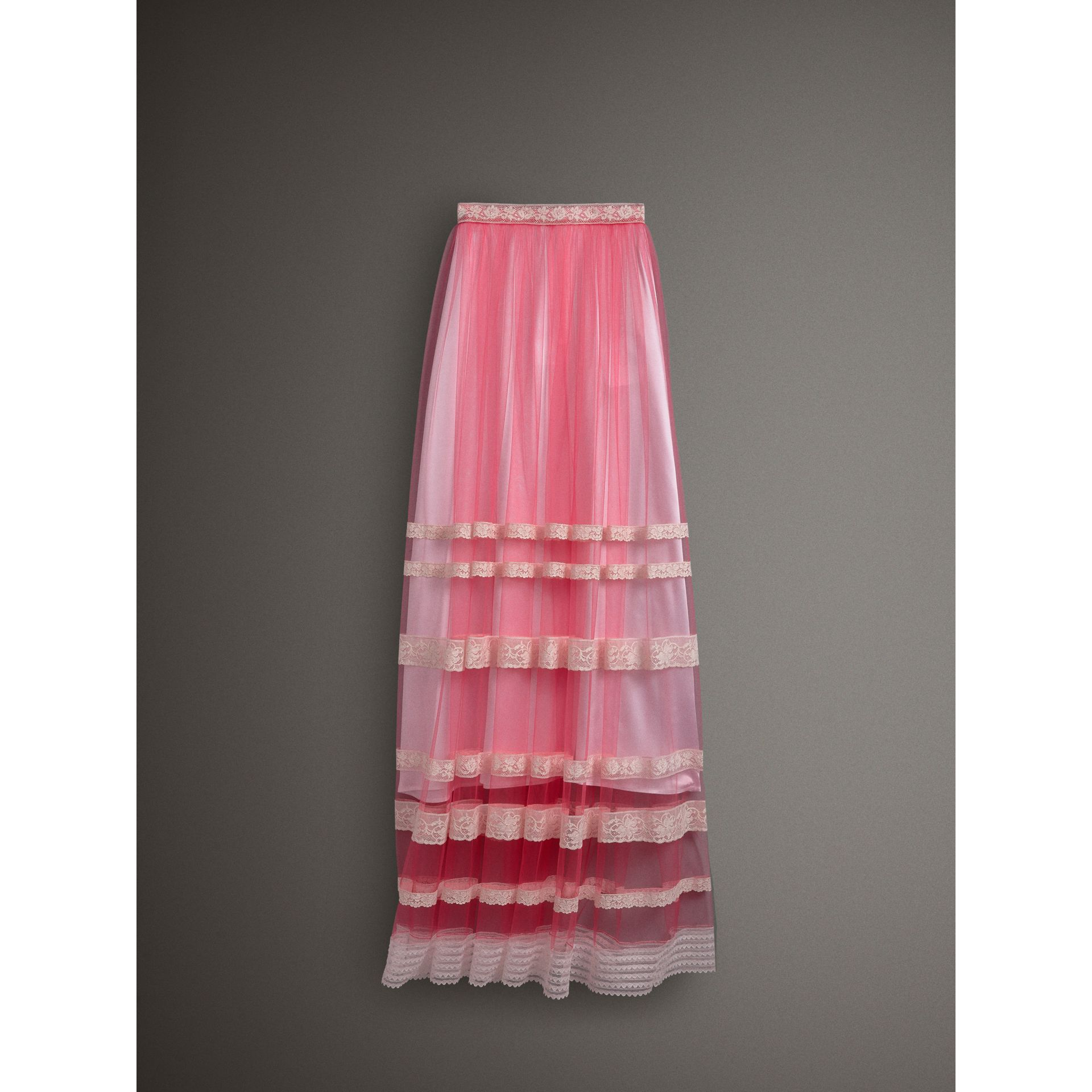 Floor-length English Lace Trim Tulle Skirt in Bright Pink - Women | Burberry United Kingdom - gallery image 3