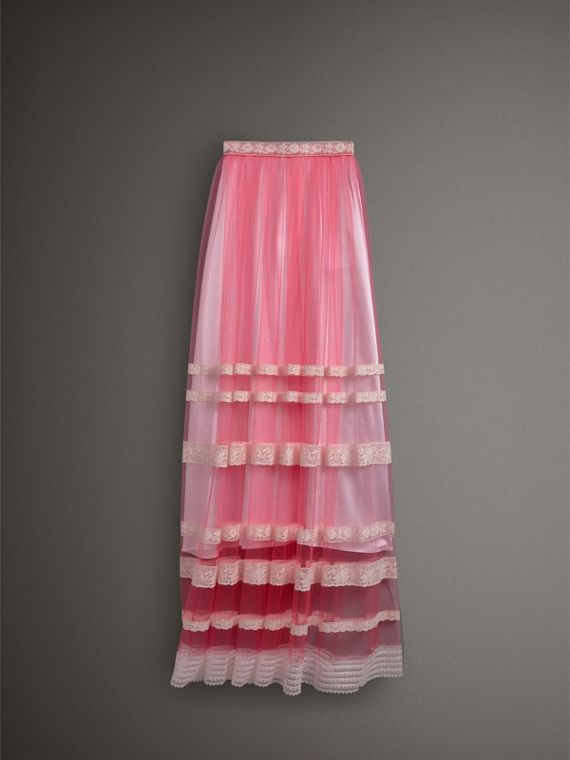 Floor-length English Lace Trim Tulle Skirt in Bright Pink - Women | Burberry Singapore - cell image 3