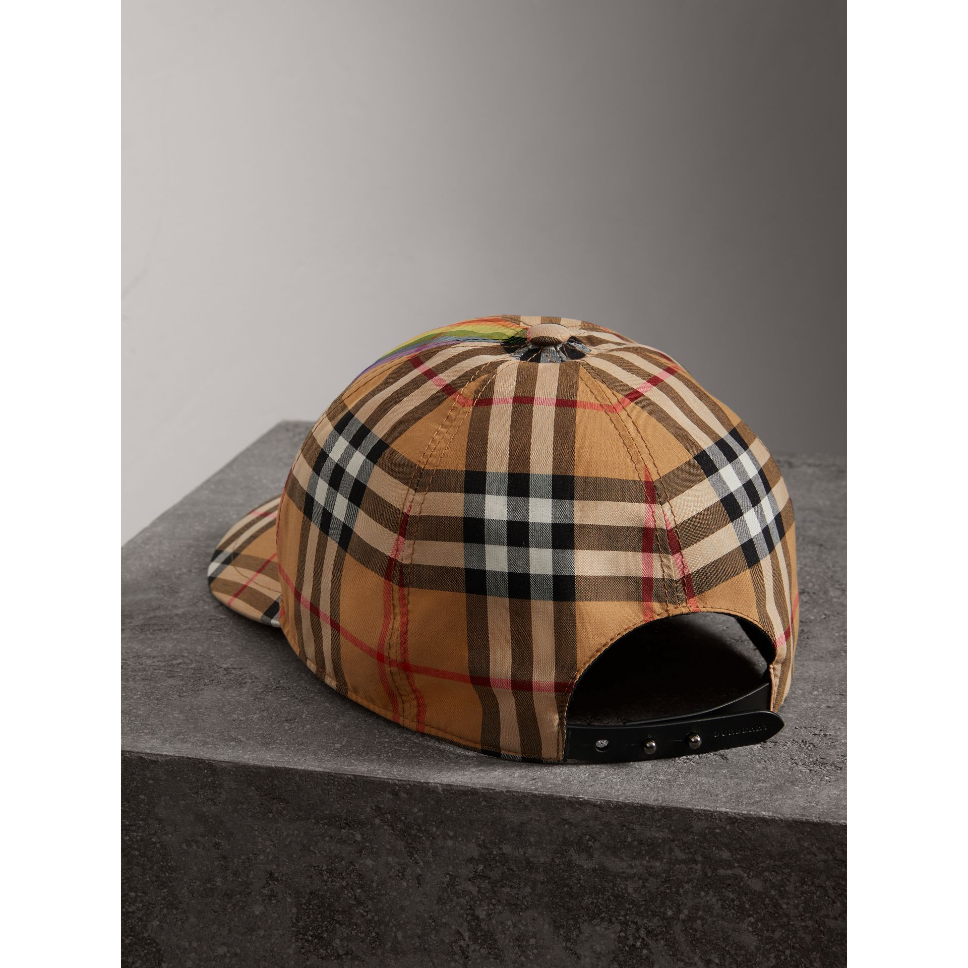 Rainbow Vintage Check Baseball Cap in Antique Yellow/rainbow | Burberry Australia - gallery image 5