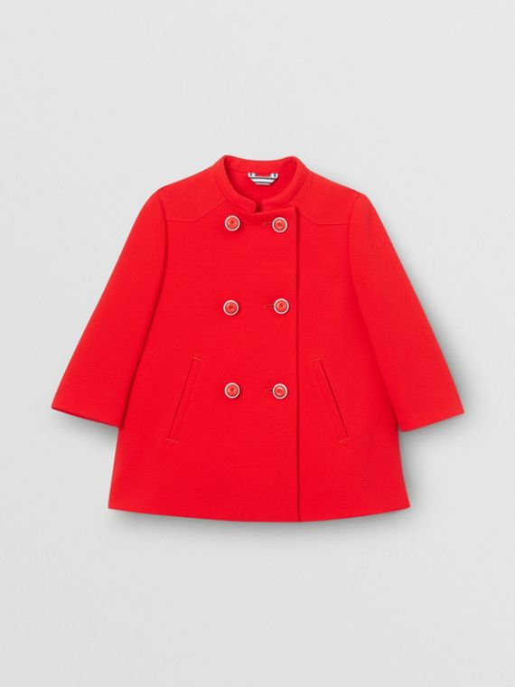 Crepe Jersey Swing Coat in Bright Red