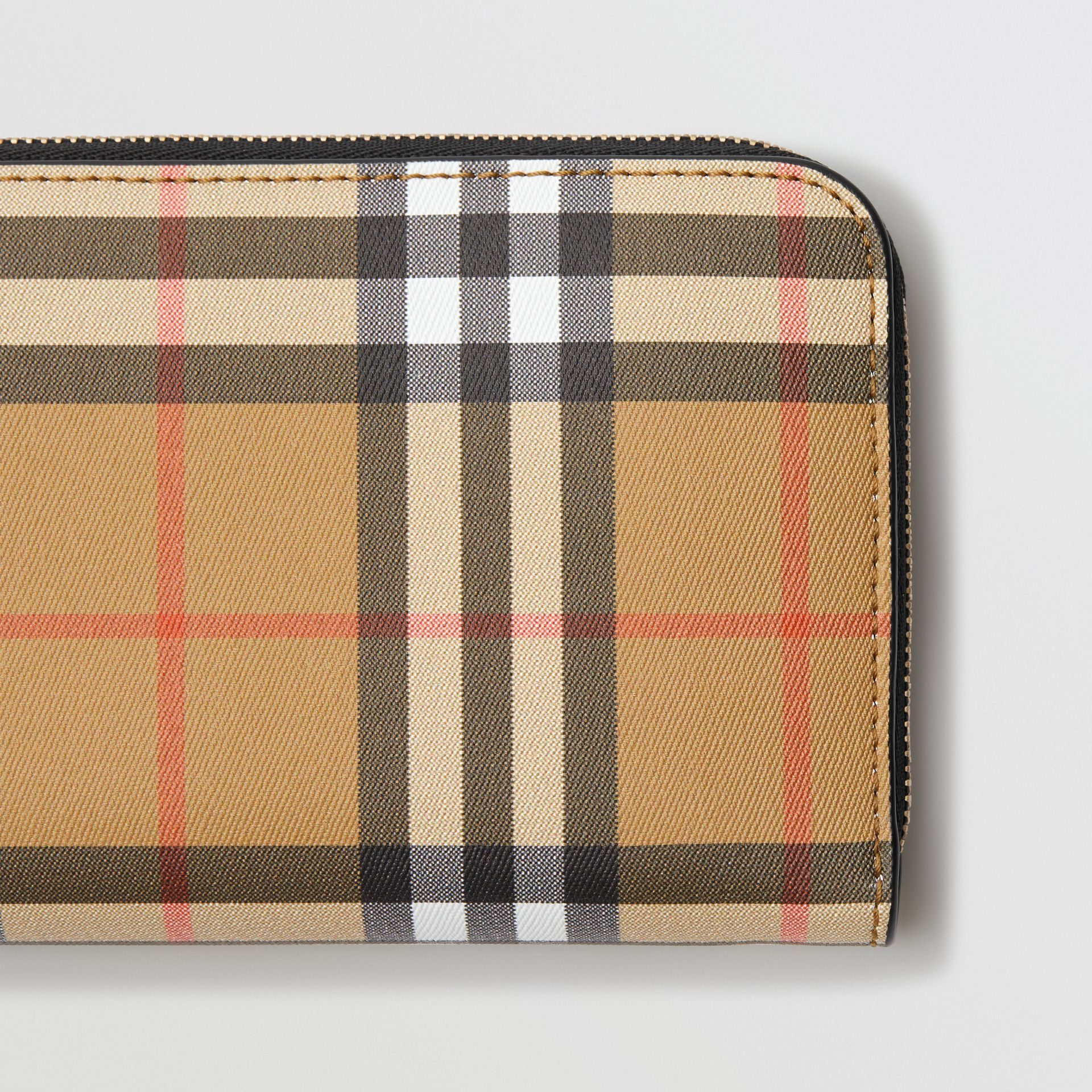 Vintage Check and Leather Ziparound Wallet in Black - Women | Burberry - gallery image 1