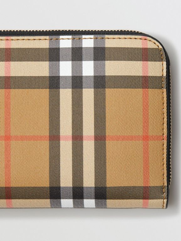 Vintage Check and Leather Ziparound Wallet in Black - Women | Burberry United Kingdom - cell image 1
