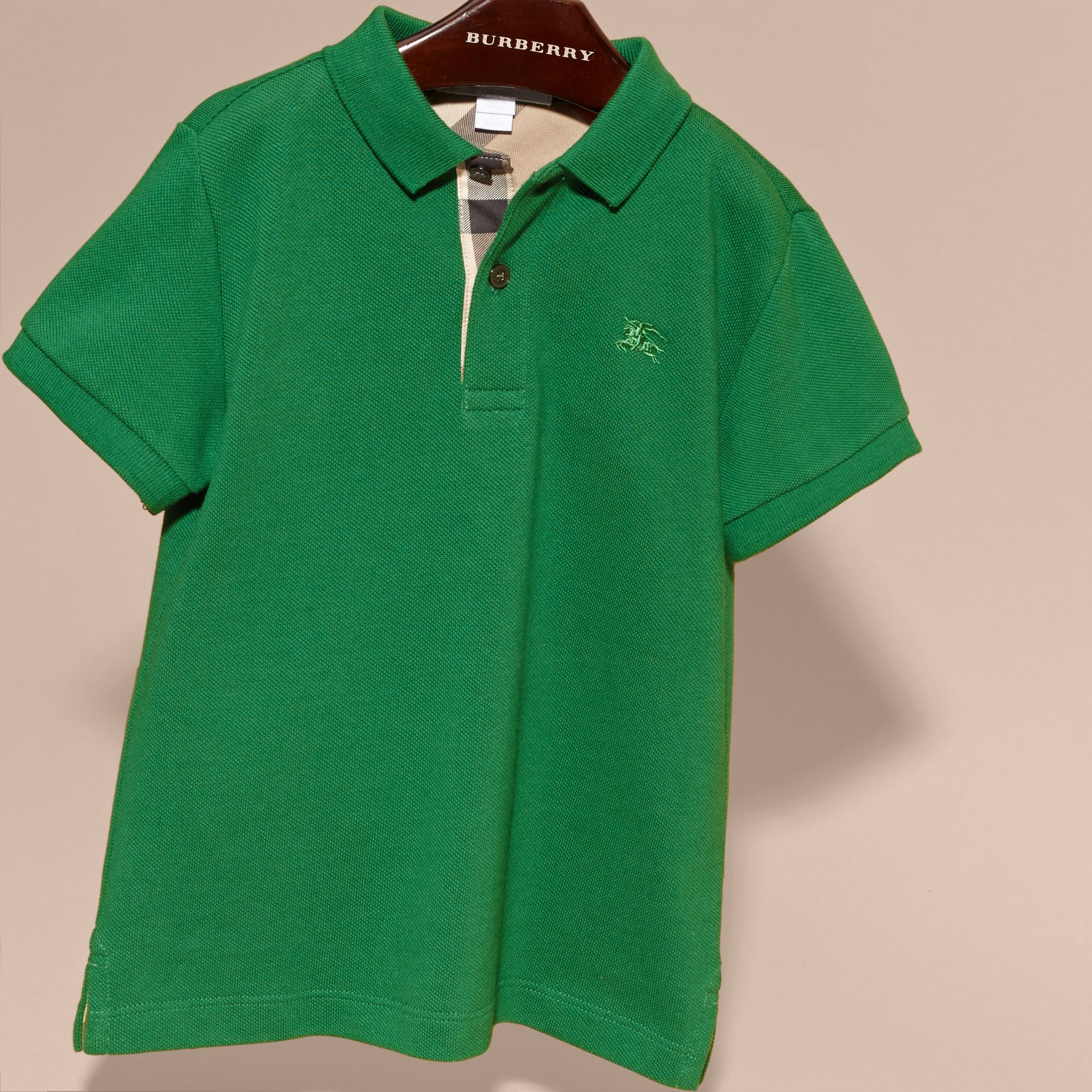 Check Placket Polo Shirt in Bright Pigment Green - gallery image 3