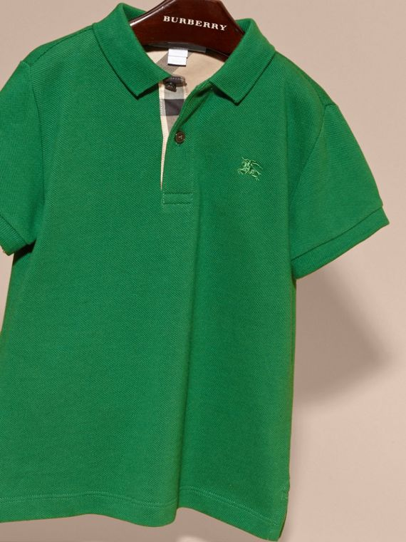 Check Placket Polo Shirt in Bright Pigment Green - cell image 2