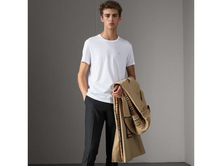 Cotton Jersey T-shirt in White - Men | Burberry United States - cell image 4