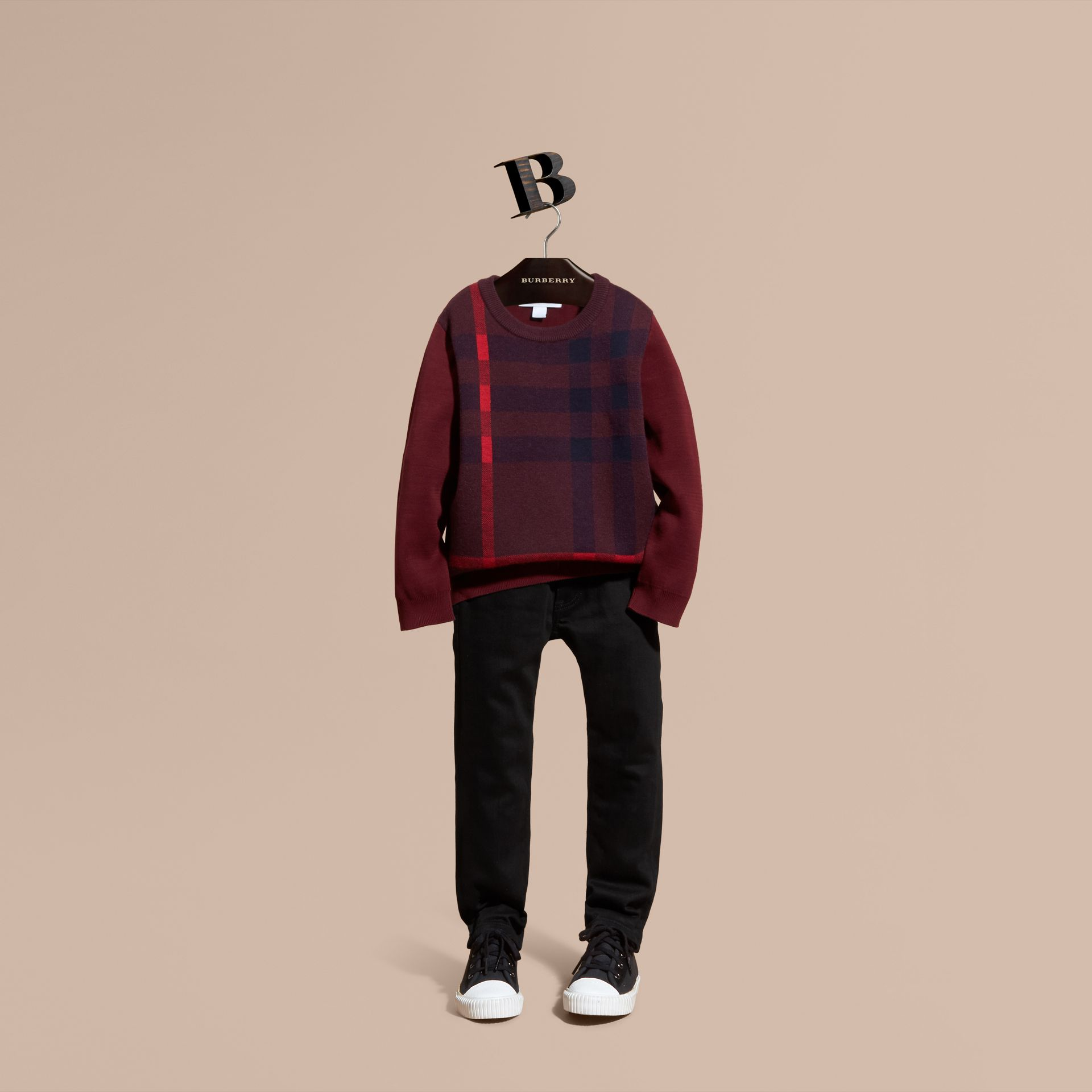 Deep claret Check Wool Cashmere Blend Sweater Deep Claret - gallery image 1