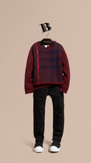 Check Wool Cashmere Blend Sweater