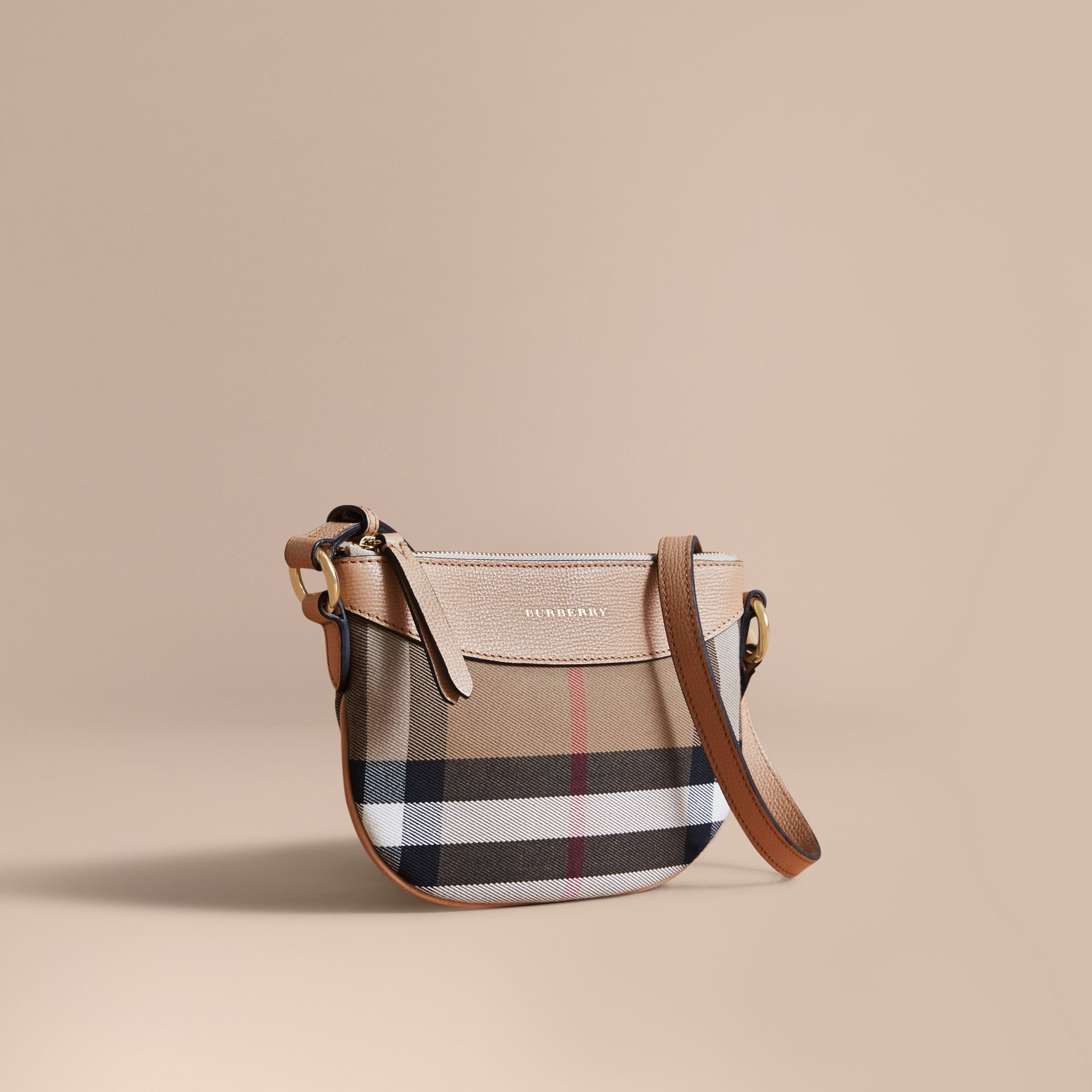 House Check and Leather Crossbody Bag in Chino - Girl | Burberry - gallery image 1