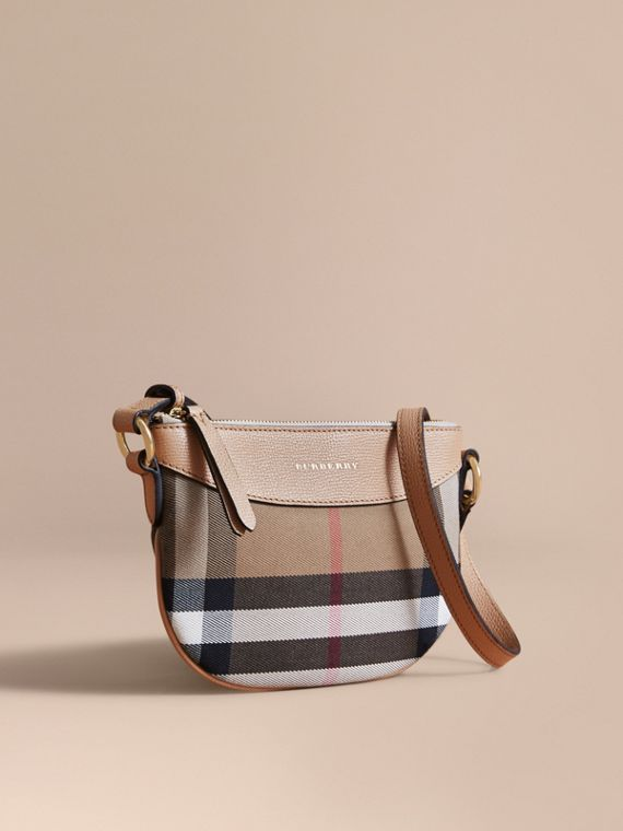 House Check and Leather Crossbody Bag in Chino - Girl | Burberry