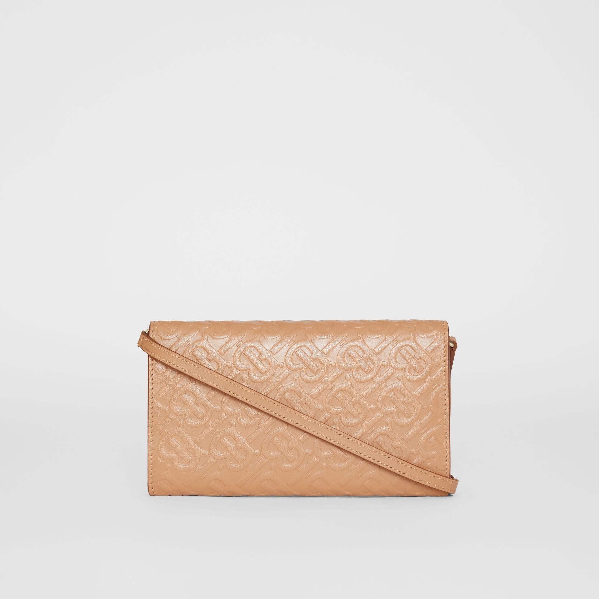 Monogram Leather Wallet with Detachable Strap in Light Camel - Women | Burberry - gallery image 7