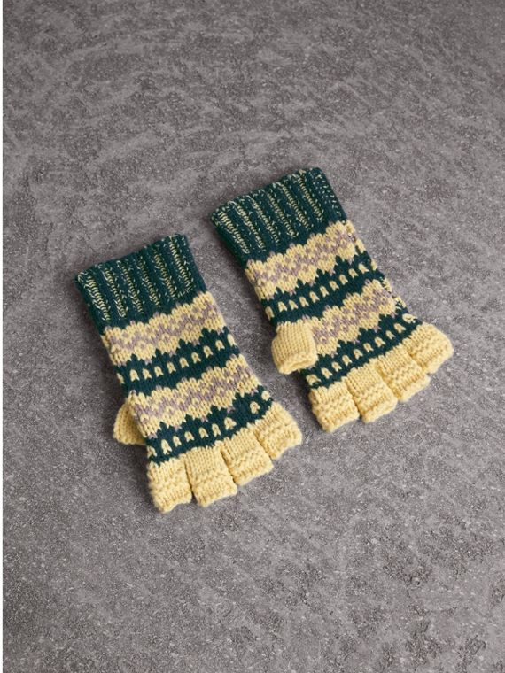 Fair Isle Cashmere Wool Blend Fingerless Gloves in Pine Green