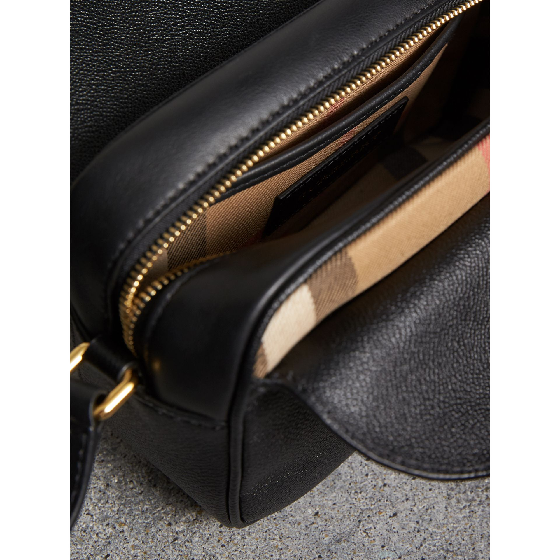 The Small Buckle Crossbody Bag in Leather in Black - Women | Burberry United Kingdom - gallery image 5
