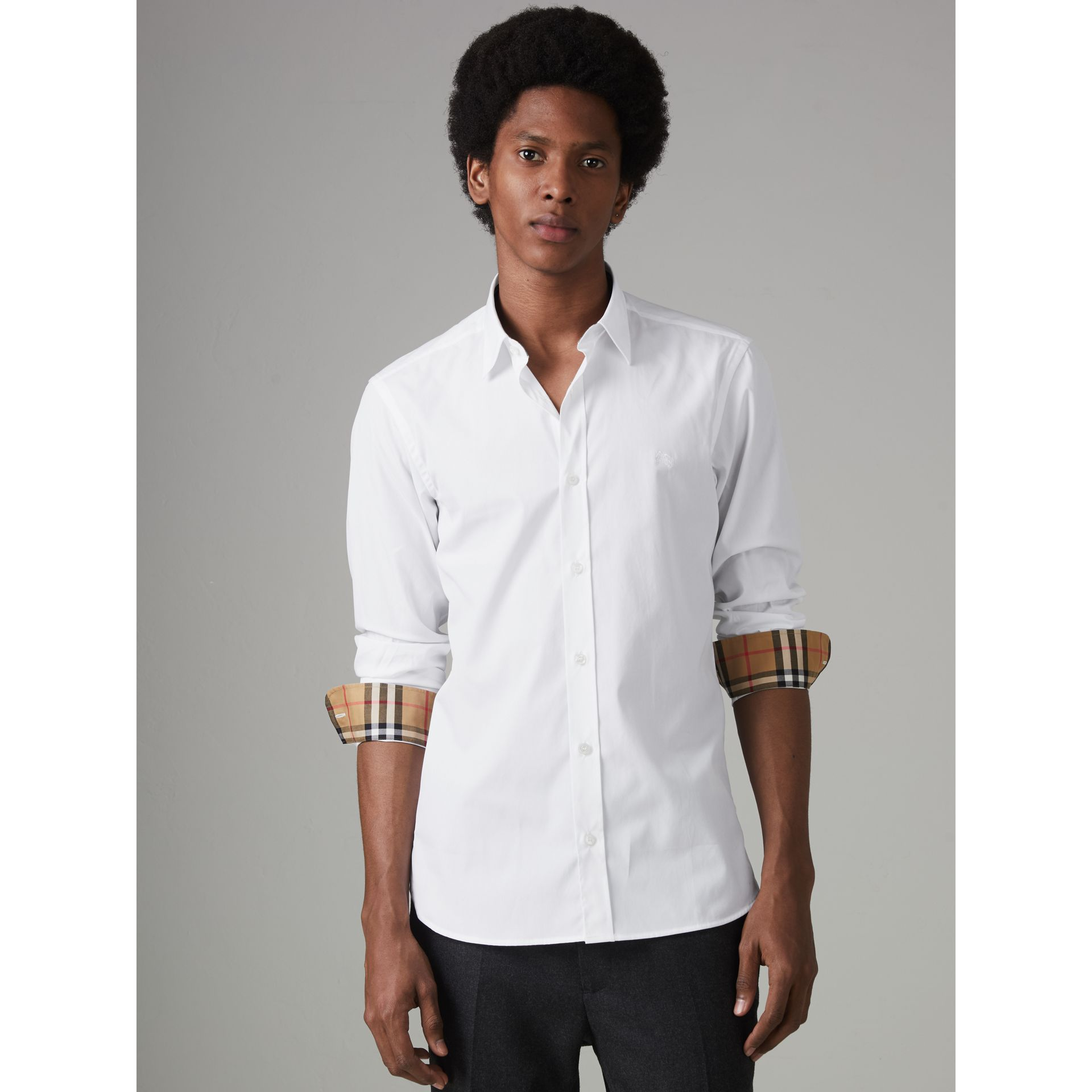 Check Cuff Stretch Cotton Poplin Shirt in White - Men | Burberry - gallery image 3