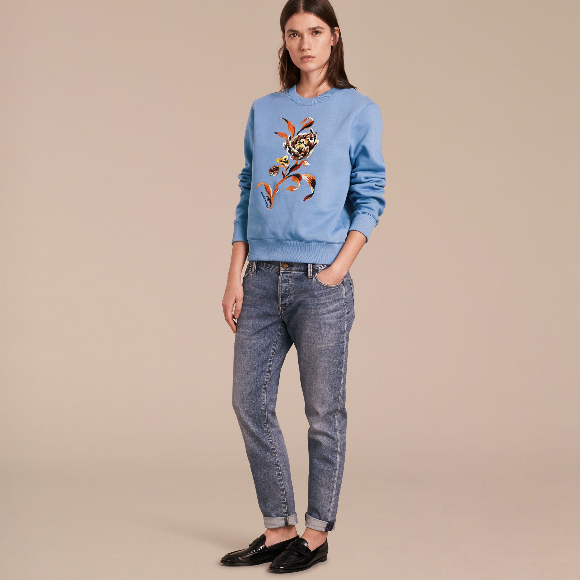 Embroidered Floral Motif Cotton Blend Sweatshirt Pale Hydrangea Blue - gallery image 6