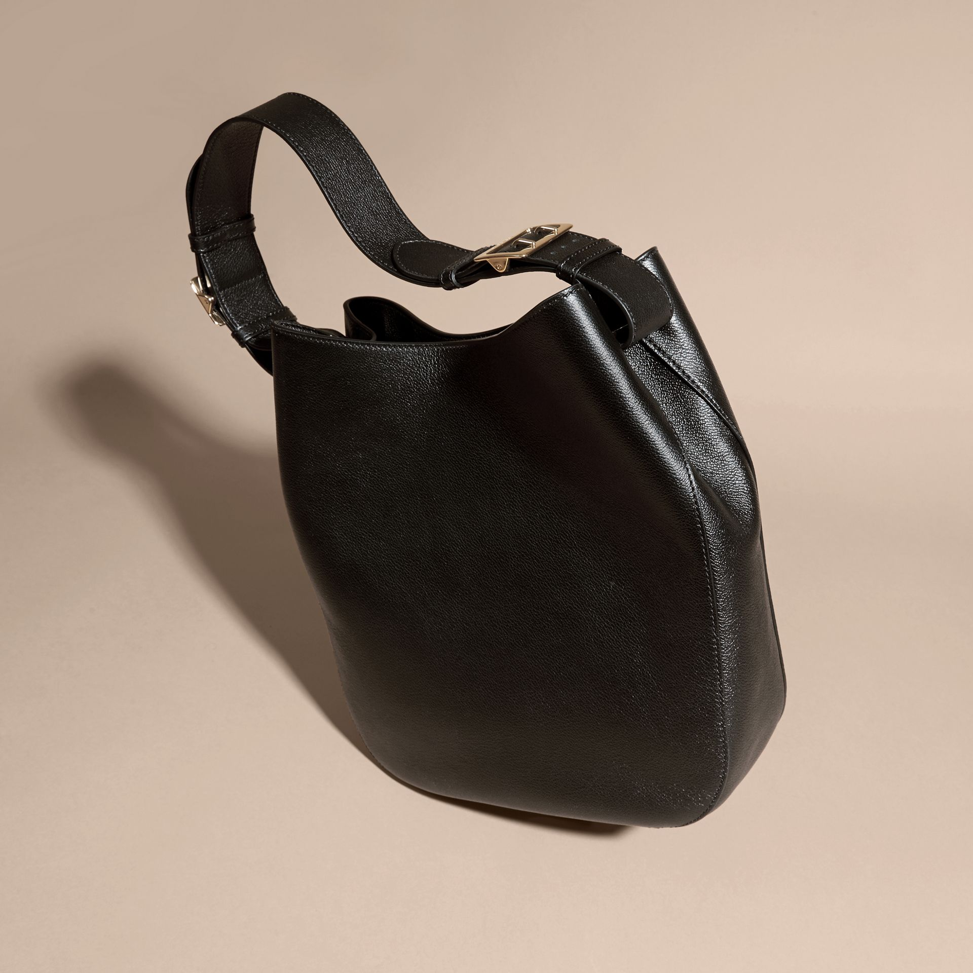 Black Textured Leather Shoulder Bag Black - gallery image 4