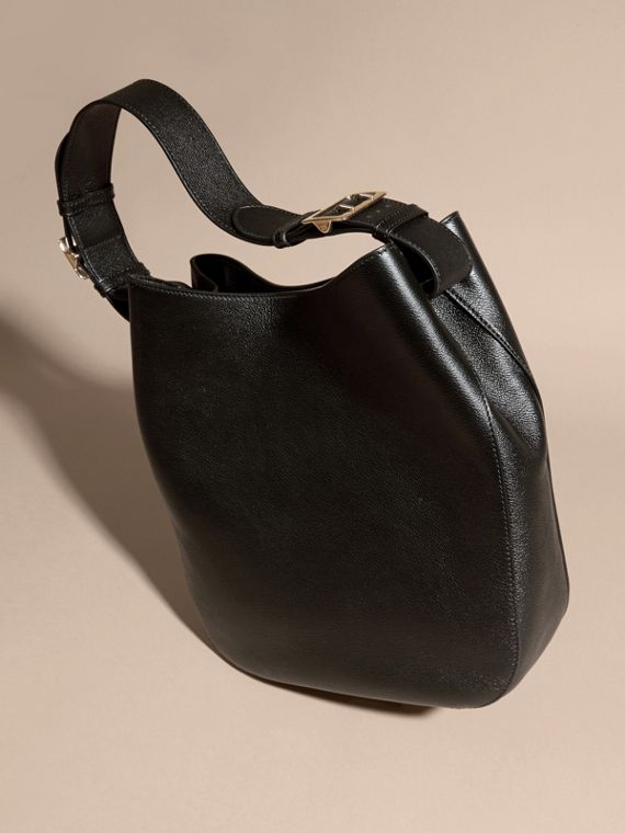 Black Textured Leather Shoulder Bag Black - cell image 3