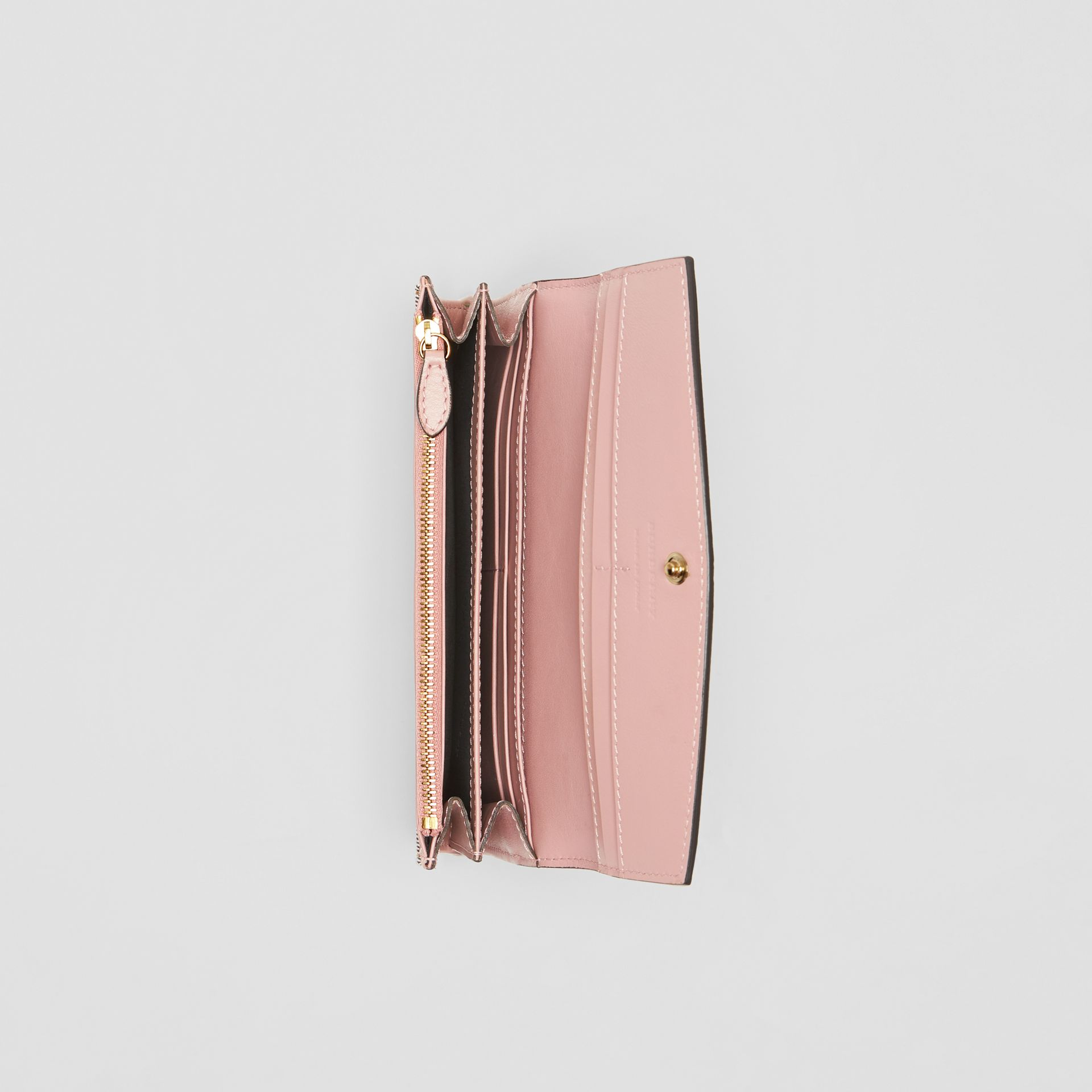 House Check And Leather Continental Wallet in Pale Orchid - Women | Burberry - gallery image 3