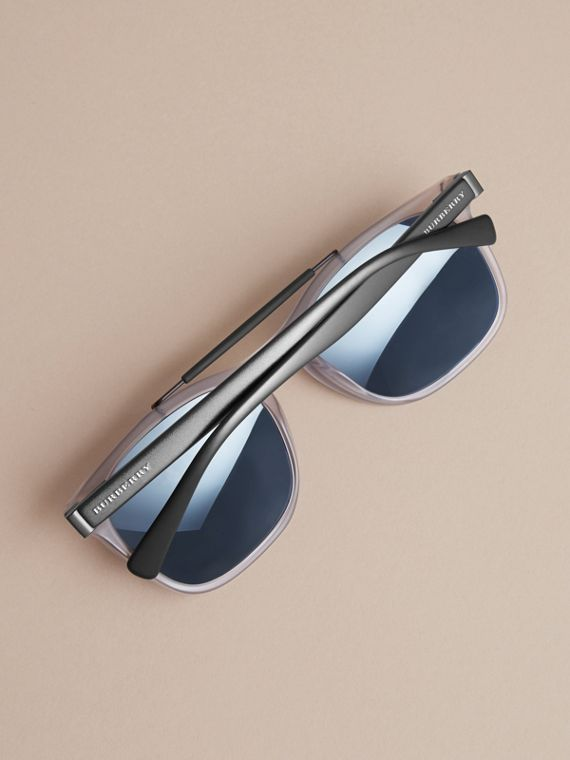 Top Bar Square Frame Sunglasses in Mineral Grey - Men | Burberry - cell image 3