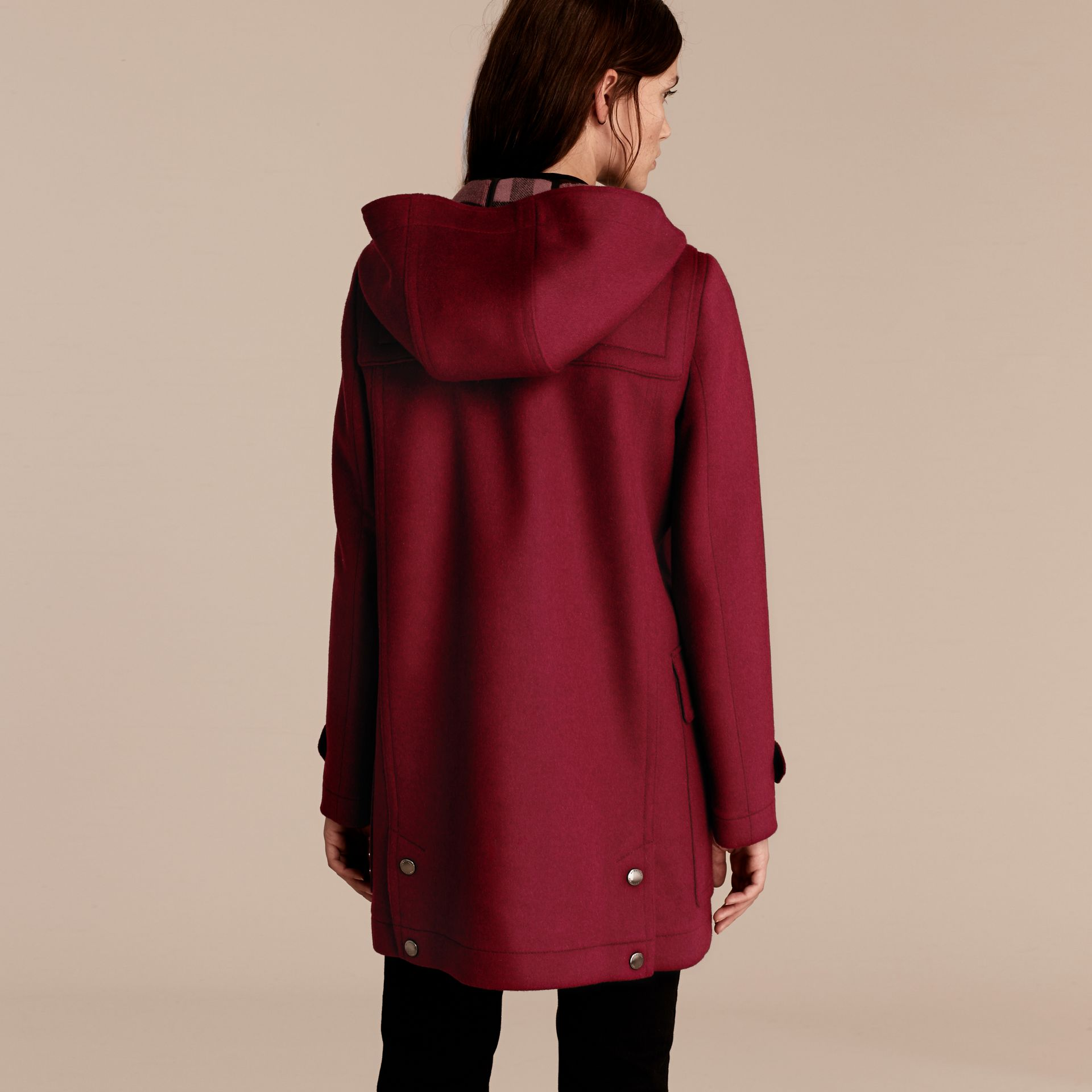 Dark plum Wool Duffle Coat - gallery image 3