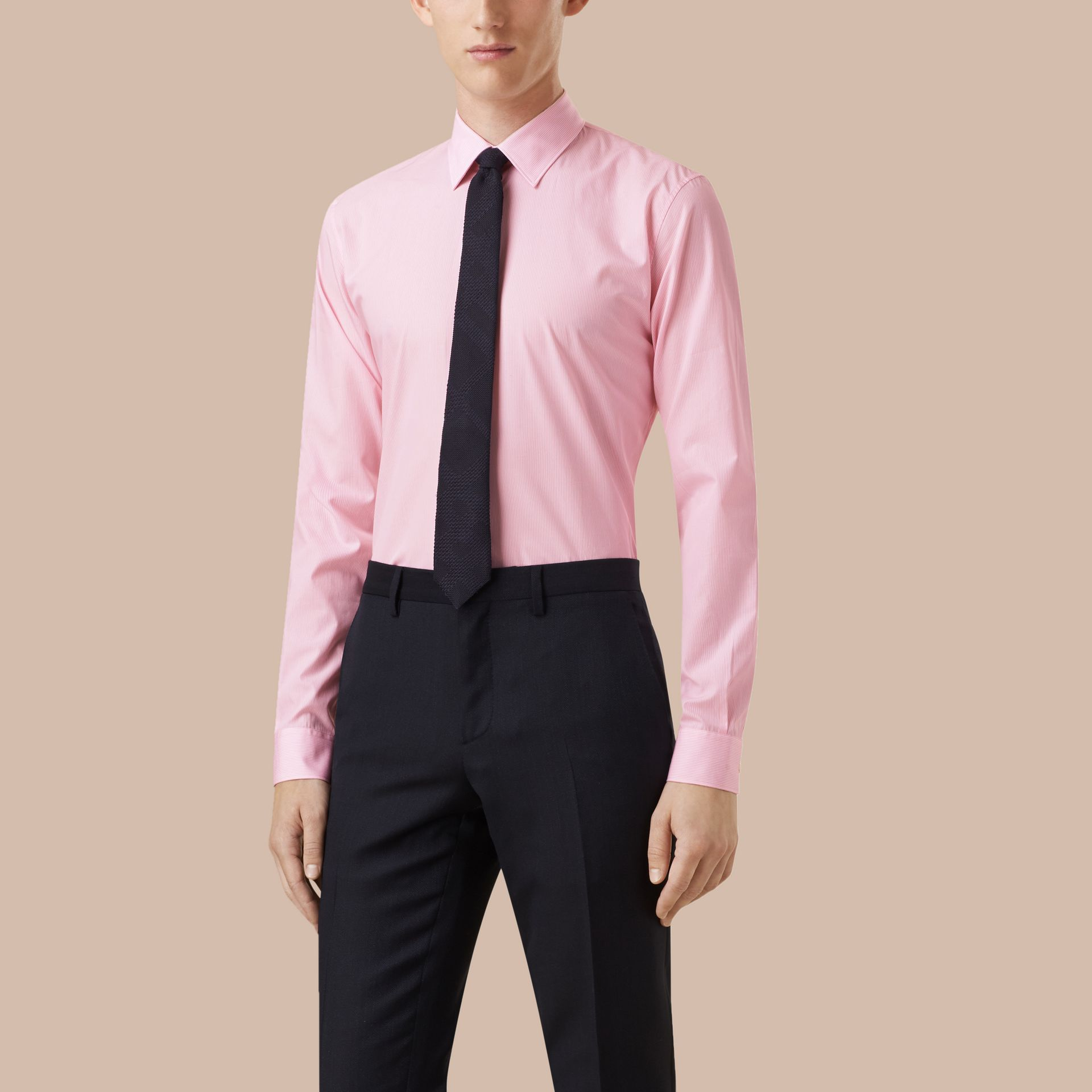 Slim Fit Striped Cotton Poplin Shirt in City Pink - Men | Burberry - gallery image 1
