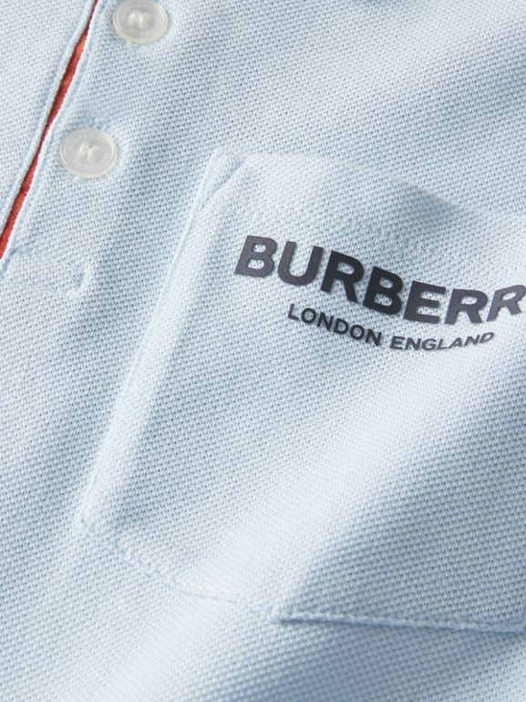 Icon Stripe Placket Cotton Piqué Polo Shirt in Light Blue | Burberry - cell image 1