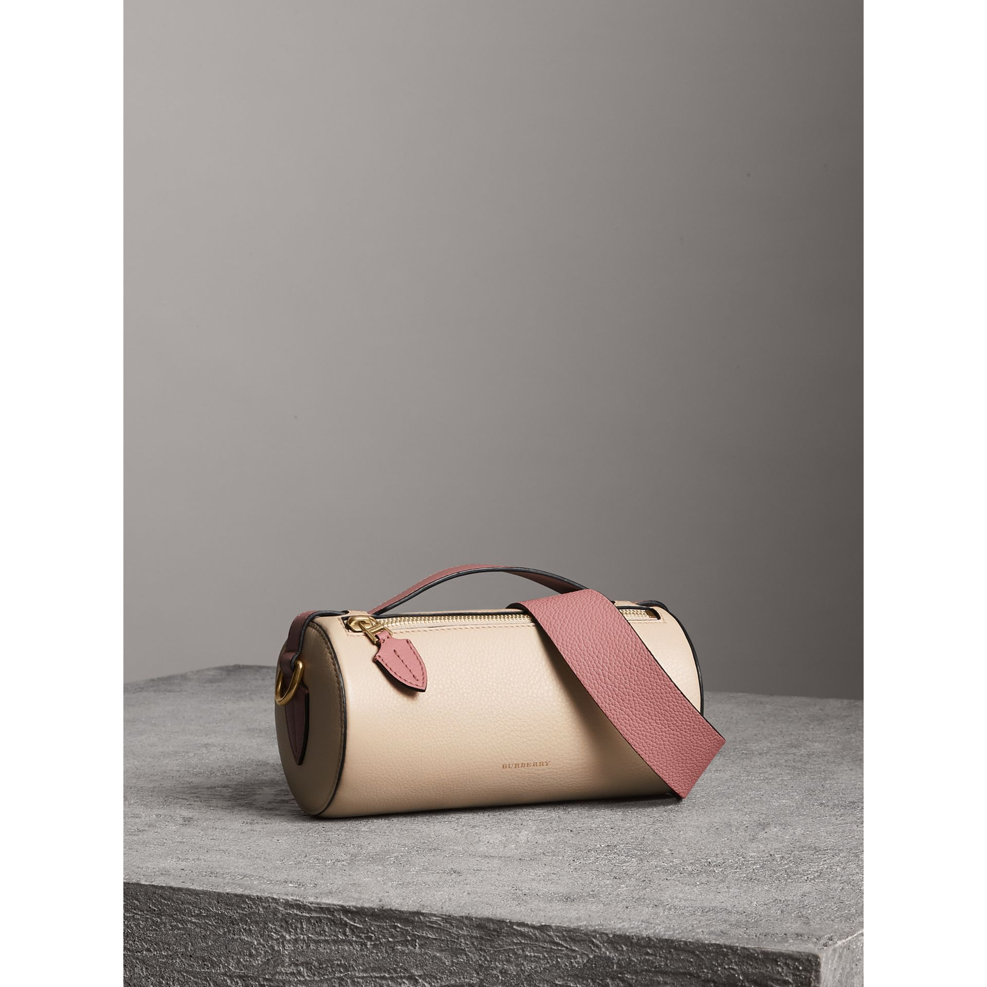 The Leather Barrel Bag in Limestone/dusty Rose - Women | Burberry - gallery image 4