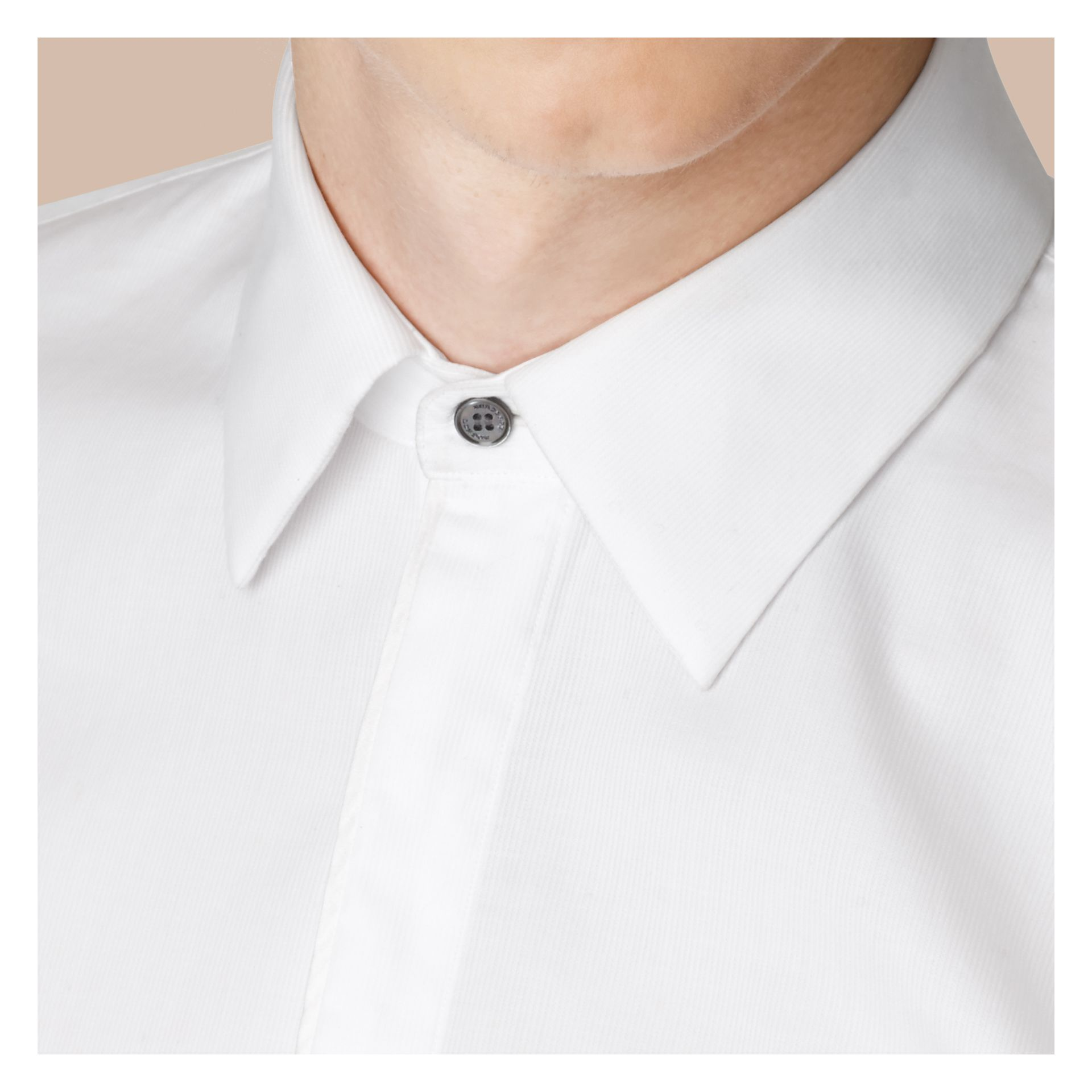 Slim Fit Double-cuff Cotton Dress Shirt in White - Men | Burberry - gallery image 5