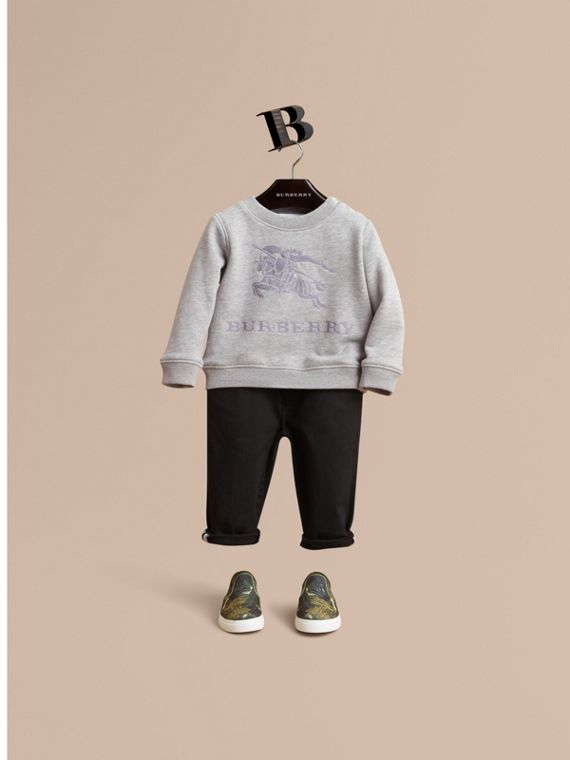 Embroidered Cotton Jersey Sweatshirt in Grey Melange - Children | Burberry Australia
