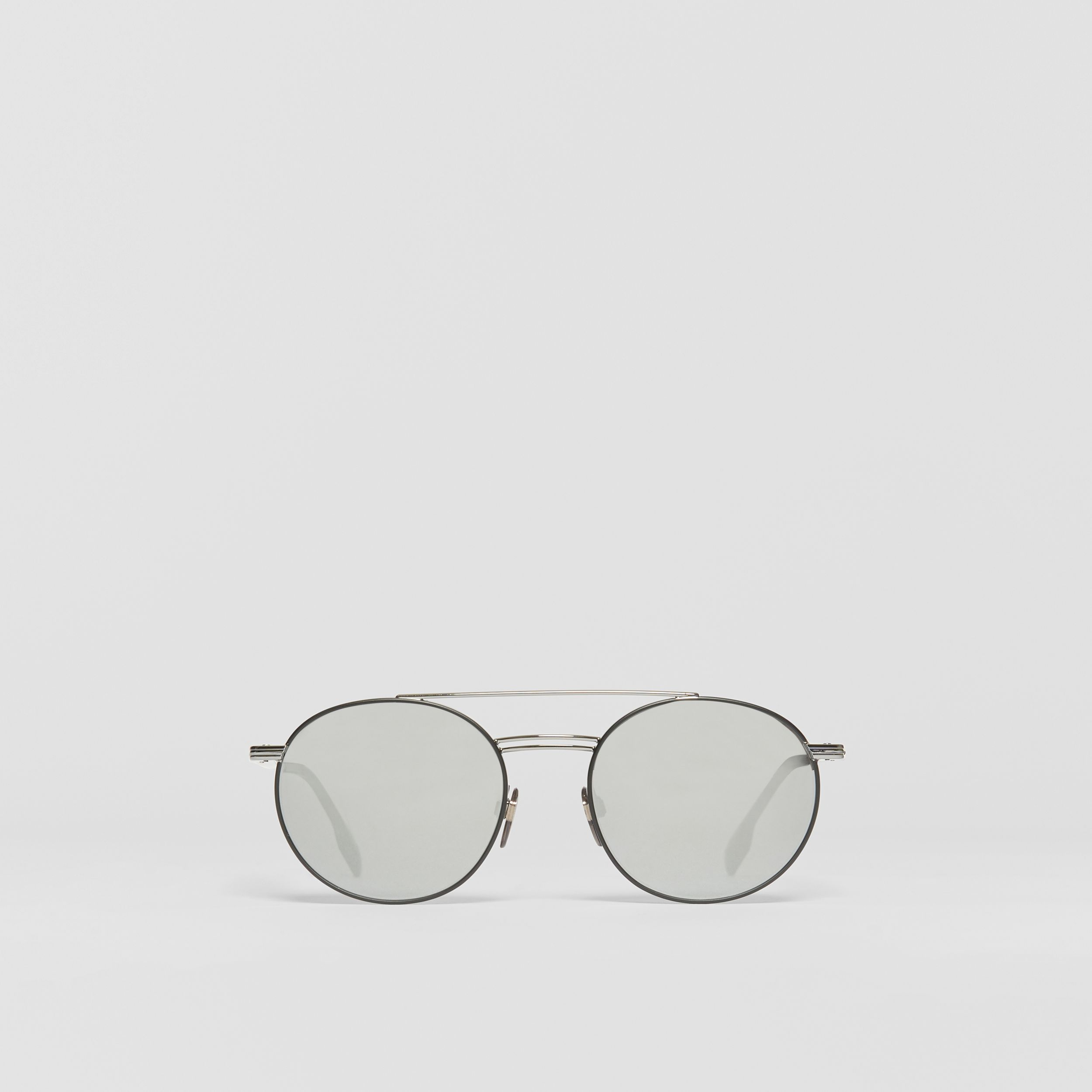 Top Bar Detail Round Frame Sunglasses in Gunmetal Grey - Men | Burberry - 1