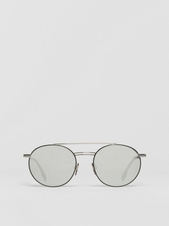 Top Bar Detail Round Frame Sunglasses in Gunmetal Grey