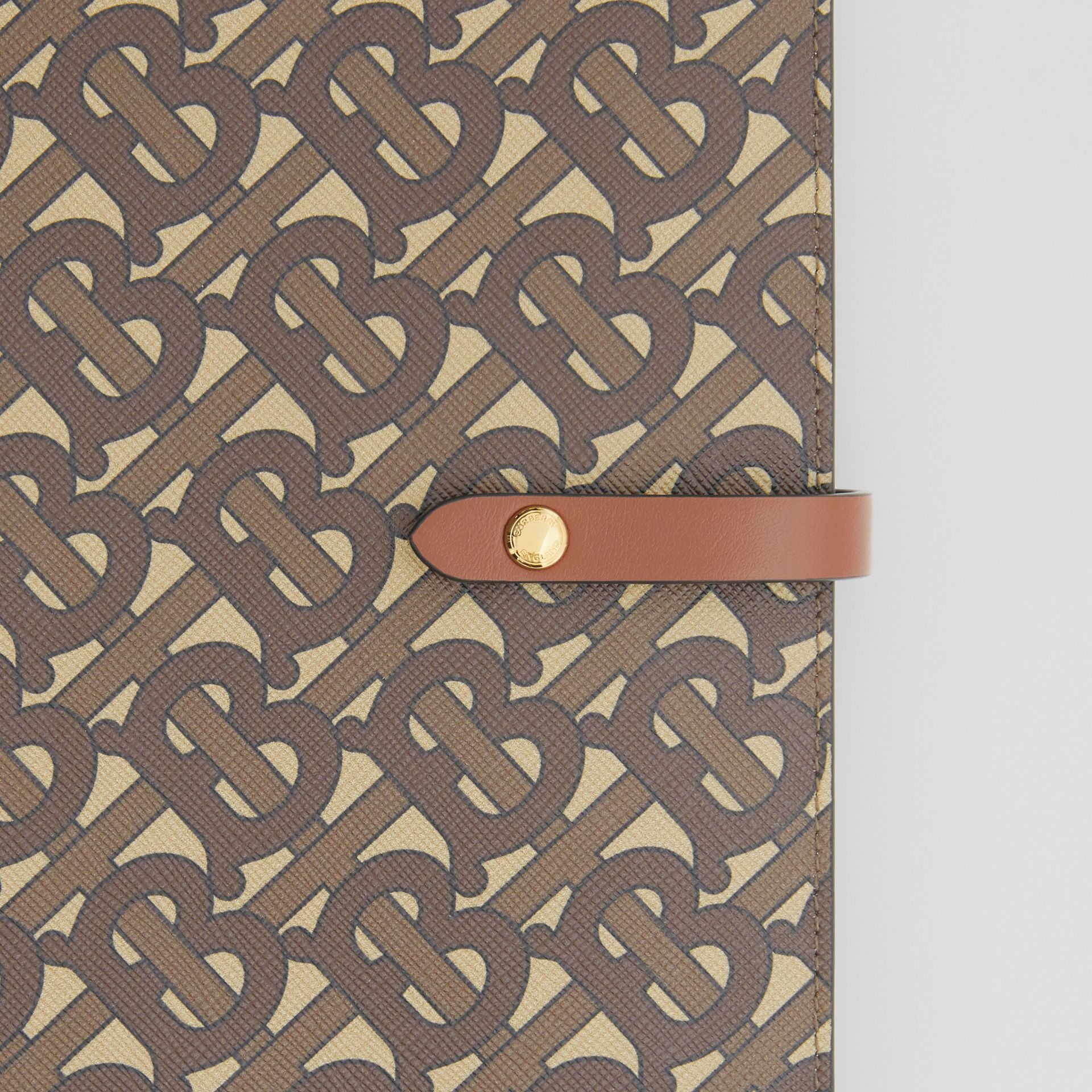 Monogram Print E-canvas Notebook Cover in Bridle Brown | Burberry - gallery image 1