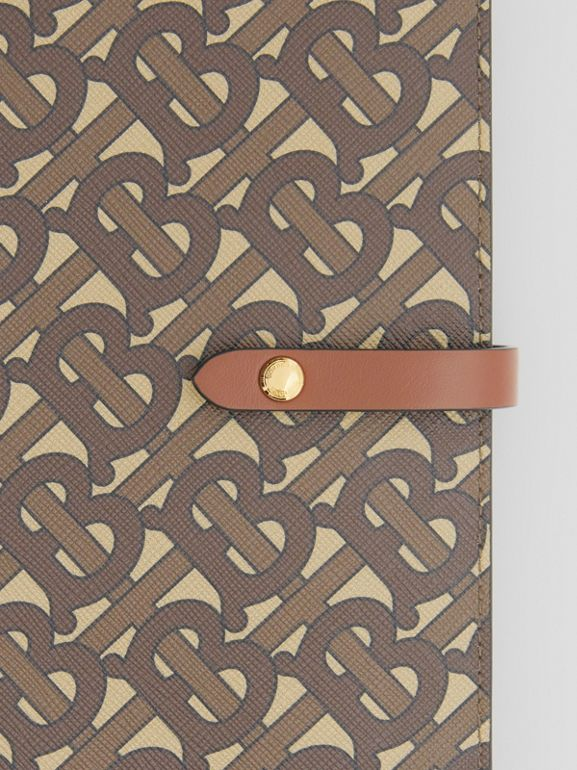 Monogram Print E-canvas Notebook Cover in Bridle Brown | Burberry - cell image 1