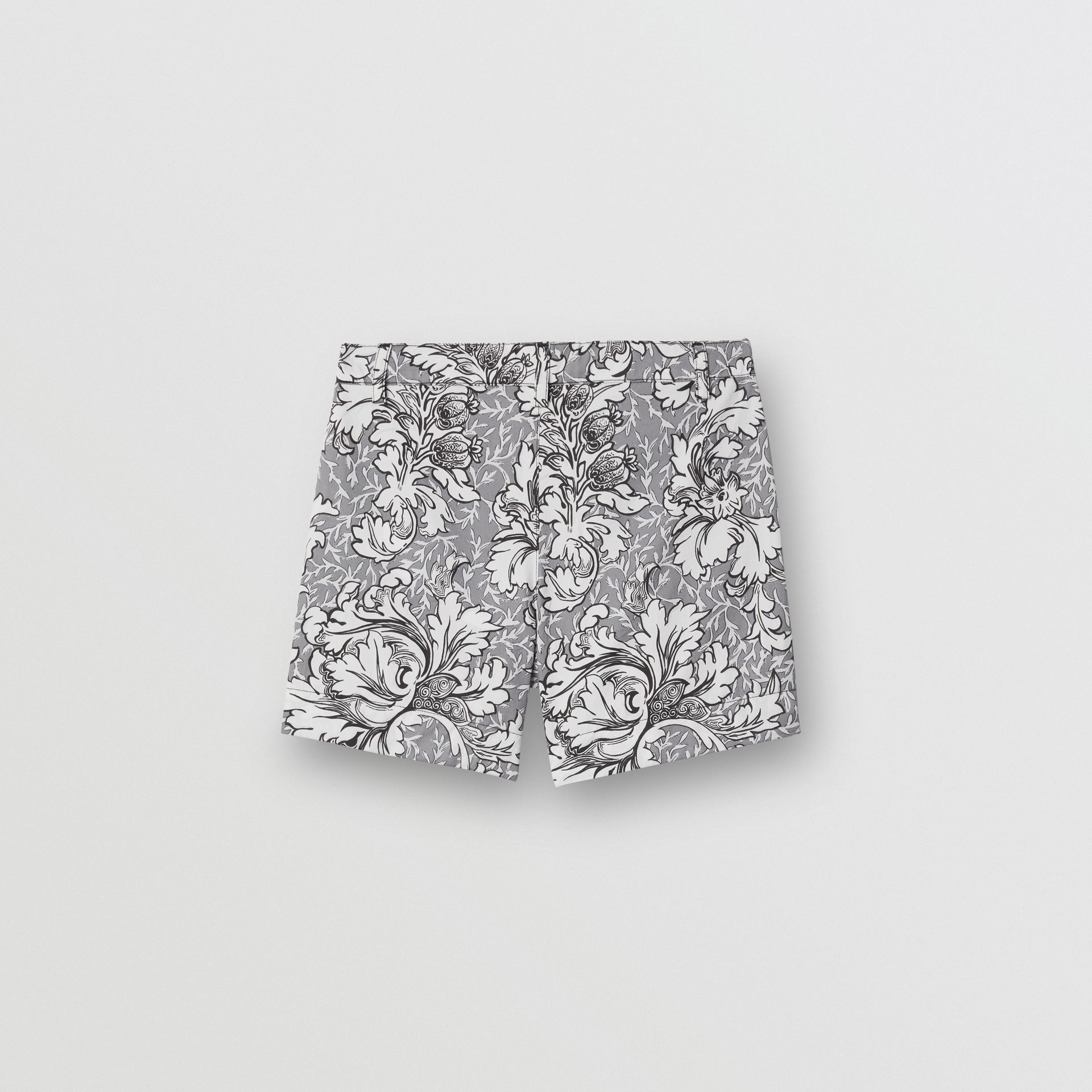 Floral Print Cotton Tailored Shorts in Mid Grey Melange | Burberry - gallery image 3
