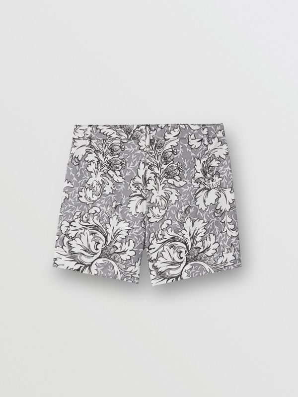 Floral Print Cotton Tailored Shorts in Mid Grey Melange | Burberry - cell image 3