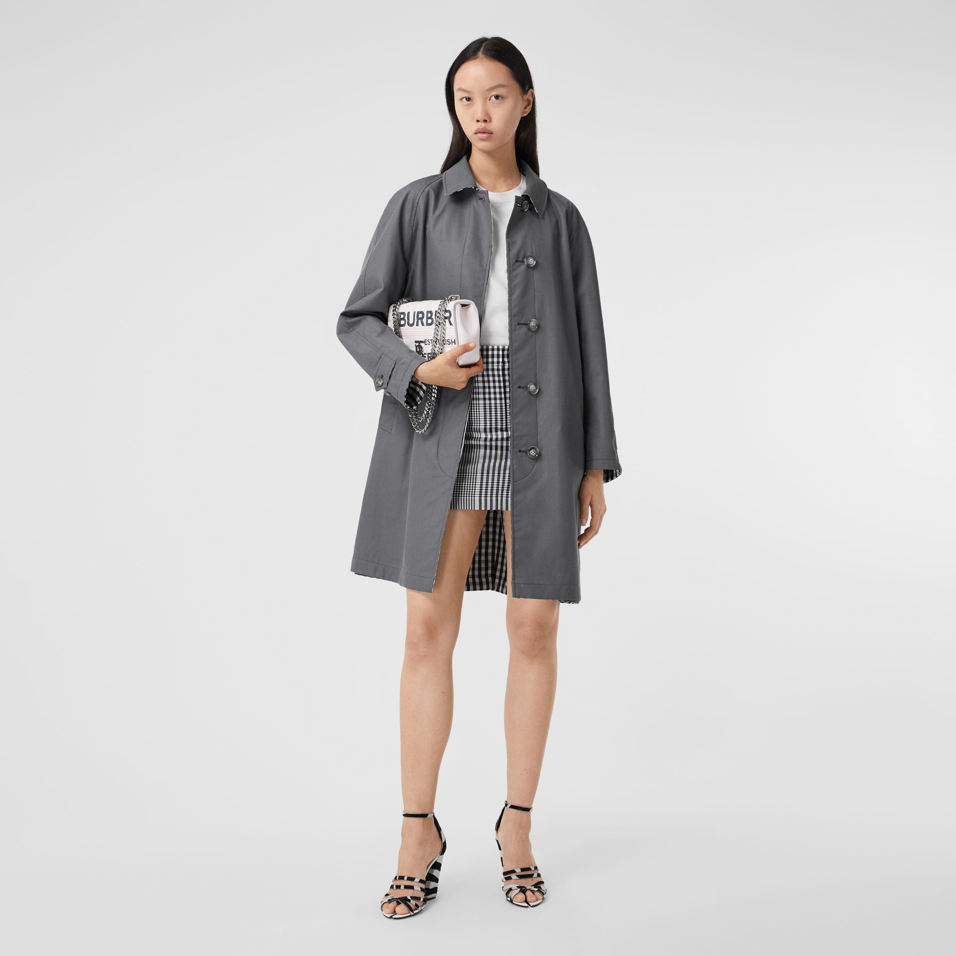 Reversible Cotton Gabardine Car Coat in Mid Grey - Women | Burberry United Kingdom - gallery image 0