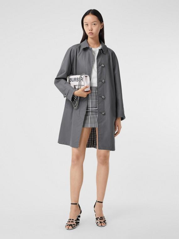 Reversible Cotton Gabardine Car Coat in Mid Grey