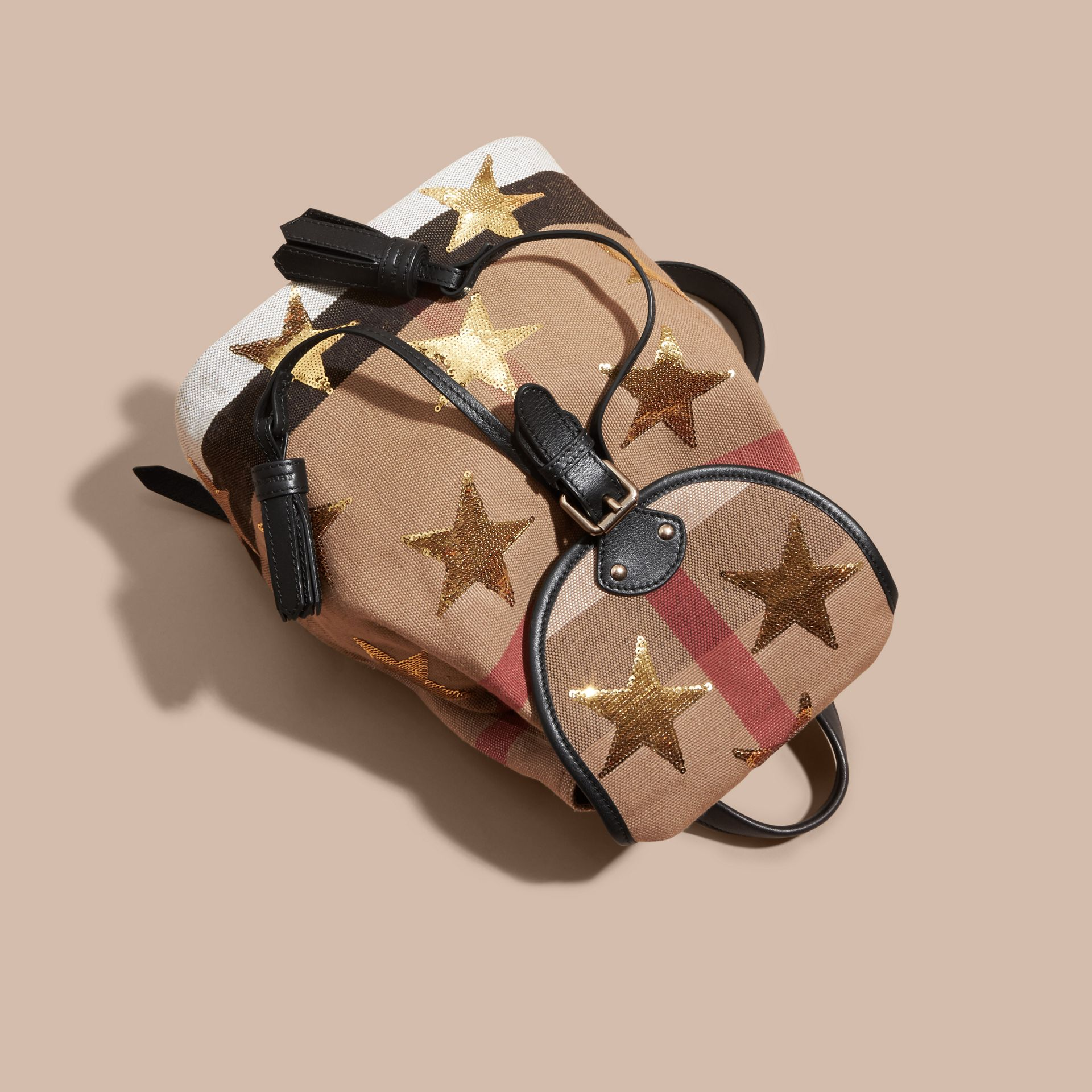 Canvas Check Mini Backpack with Sequin Stars - gallery image 3