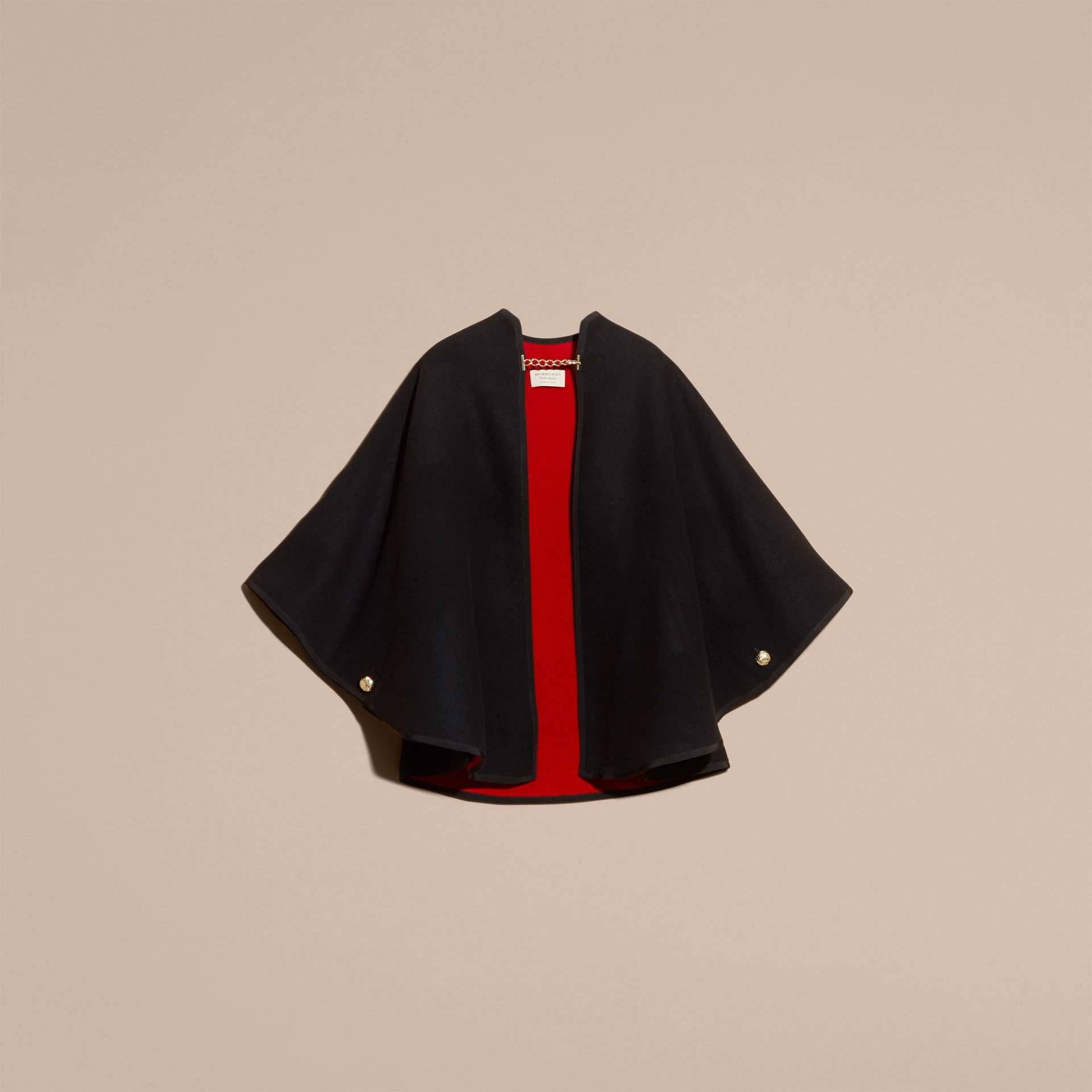 Wool Cashmere Military Cape in Black/parade Red - gallery image 4
