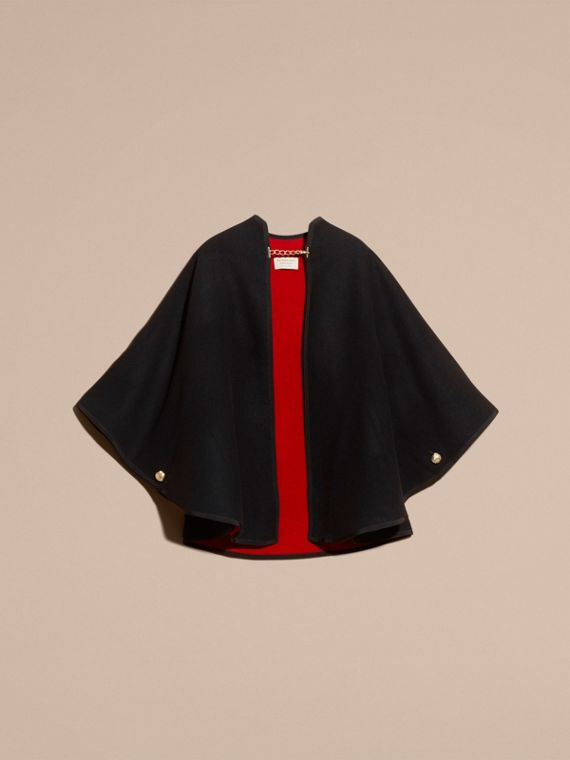 Wool Cashmere Military Cape in Black/parade Red - cell image 3