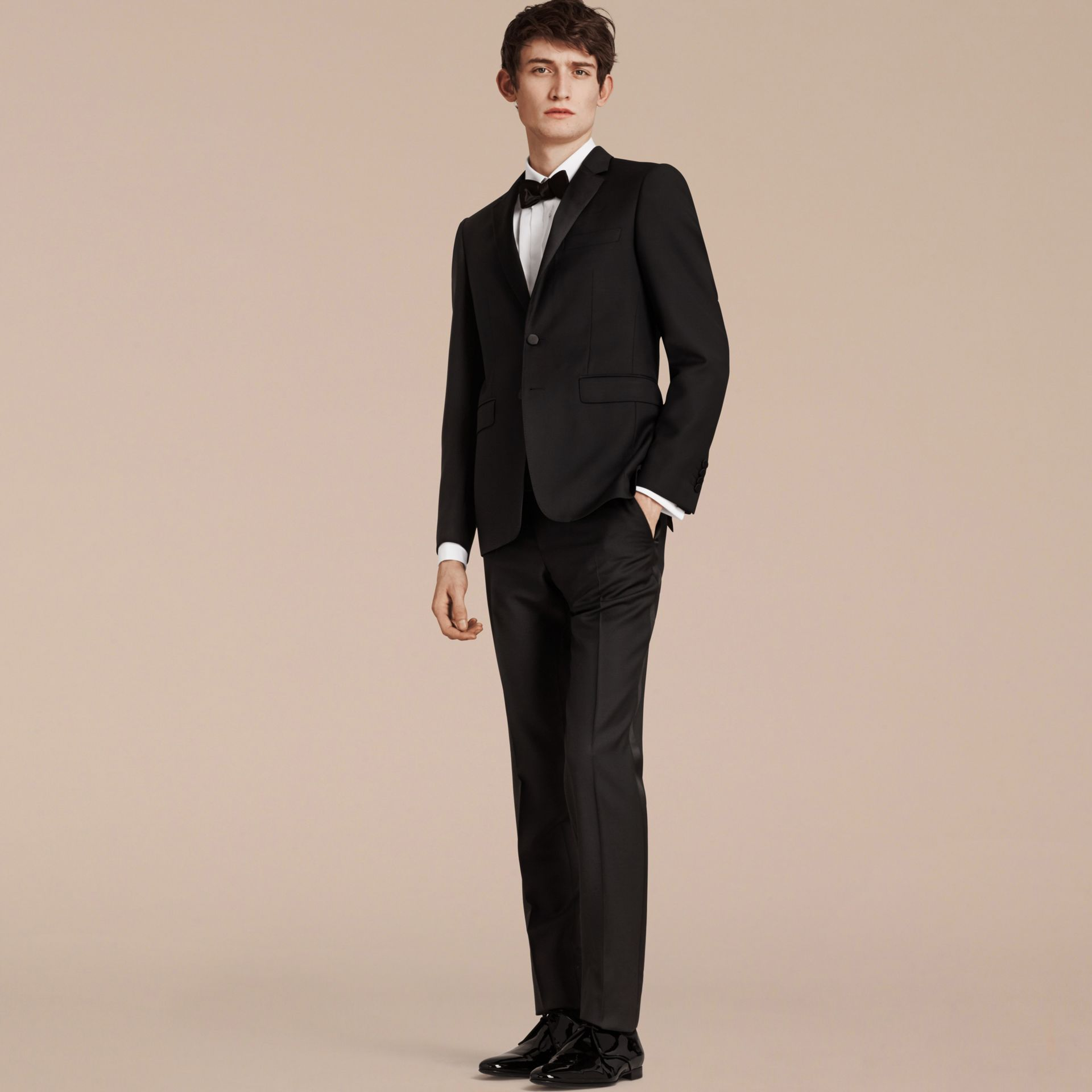 Black Slim Fit Wool Mohair Half-canvas Tuxedo - gallery image 7