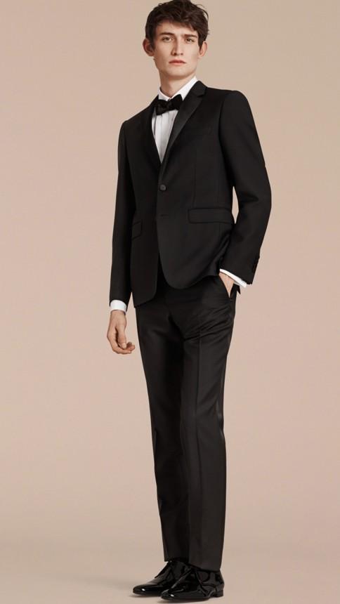 Black Slim Fit Wool Mohair Half-canvas Tuxedo - Image 7