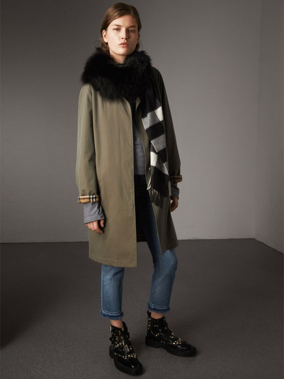 Fox Fur Trim Check Cashmere Scarf in Black/black - Women | Burberry - cell image 2