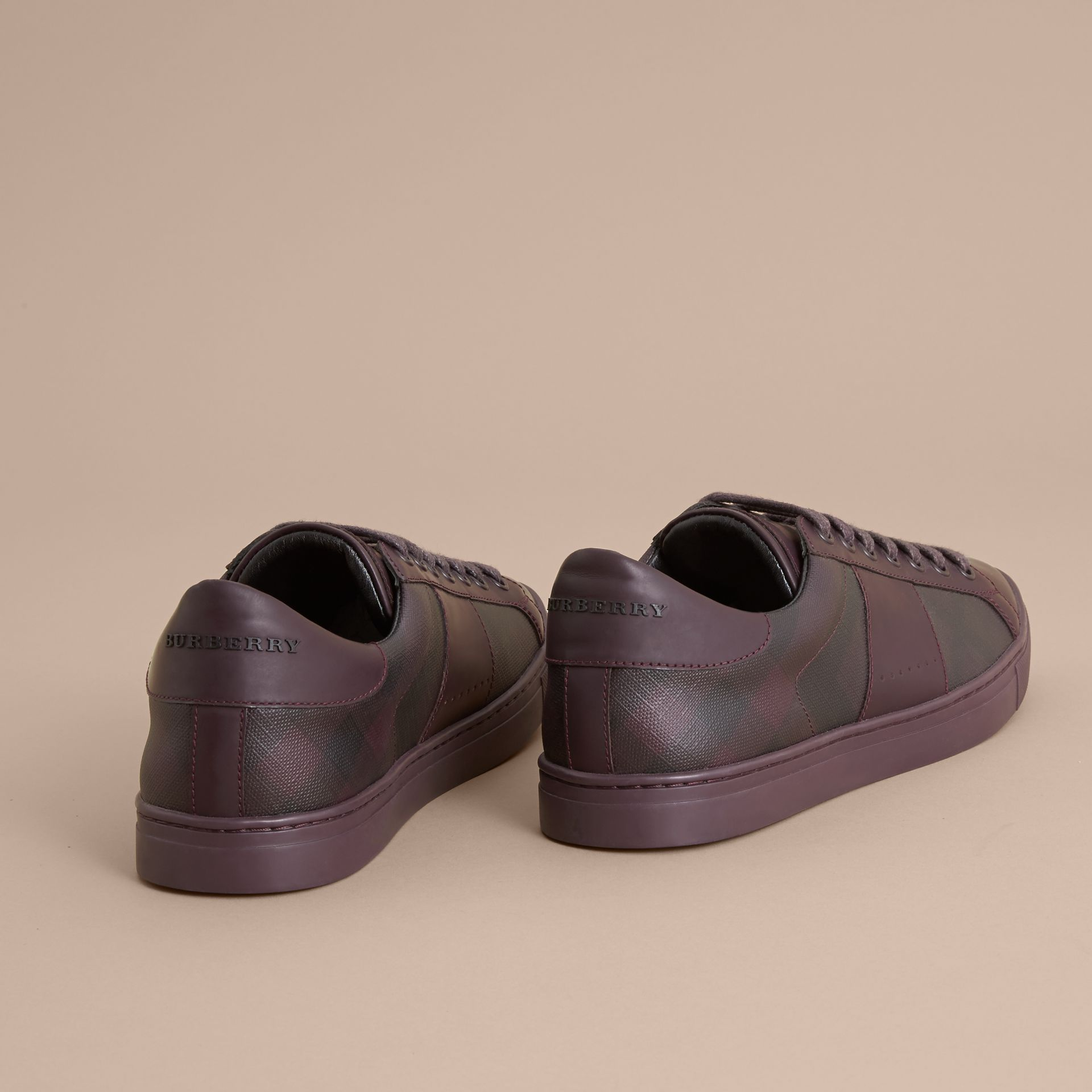Check Detail Leather Trainers in Deep Claret - Men | Burberry - gallery image 4