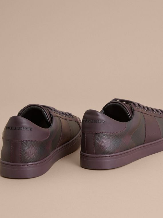 Check Detail Leather Trainers in Deep Claret - Men | Burberry Canada - cell image 3